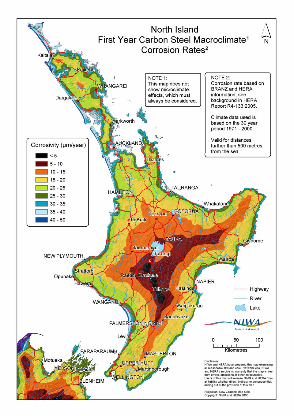 Map Of New Zealand North Island.Ganz Corrosion Map Of The North Island